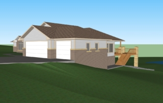 Baker Front Right of Home 3D Rendering