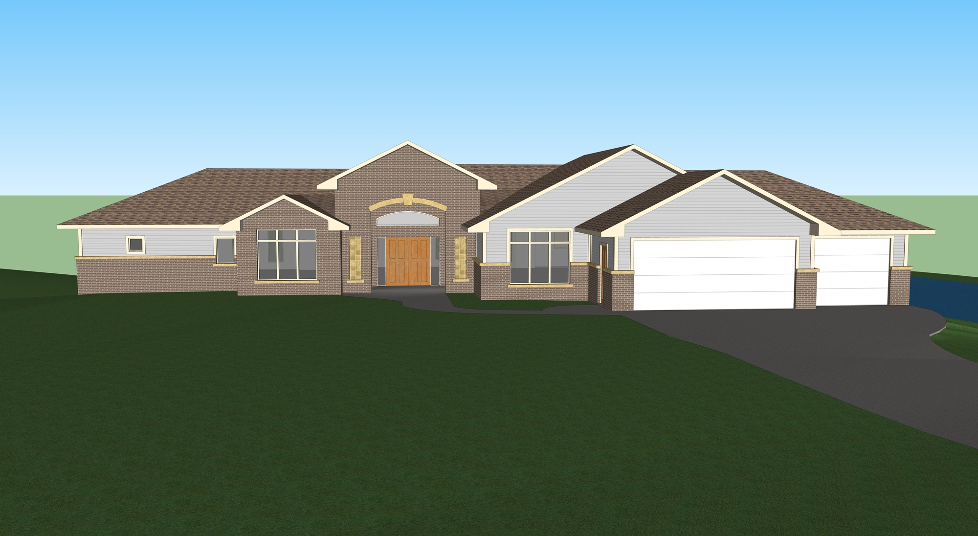 Baker Front of Home 3D Rendering